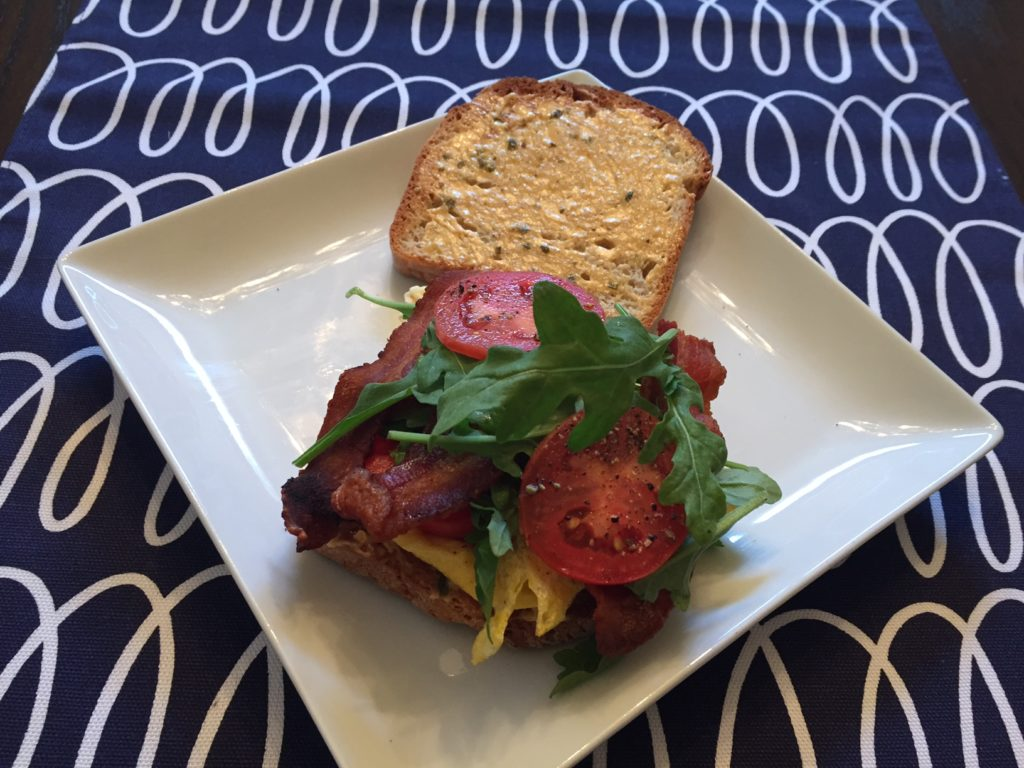 Bacon, Egg, Tomato & Arugula Breakfast Sandwich