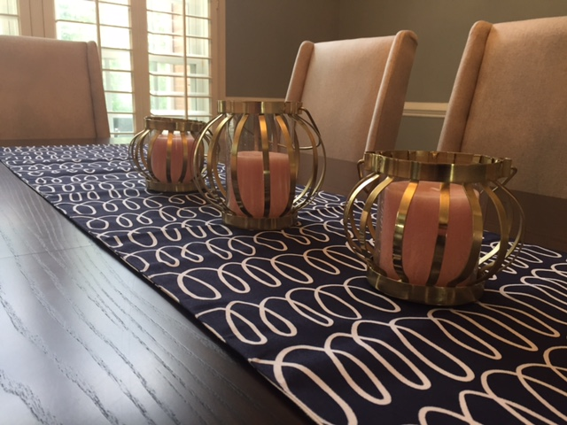 Kate Spade Table Runner, Anthropologie Lanterns, & World Market Candles